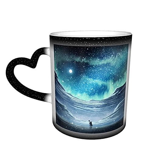 maichengxuan Taza de café unisex de viaje con estrellas de luna azul Aurora personalizada sensible al calor color cambiante taza taza de té de leche tazas de café mágicas