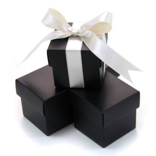 Koyal 2-Piece 50-Pack Square Favor Boxes, Black