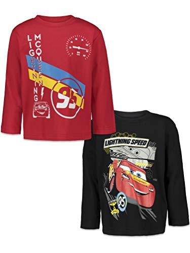 Disney Lightning McQueen Toddler Boys 2 Pack Long Sleeve T-Shirts Red/Black 2T