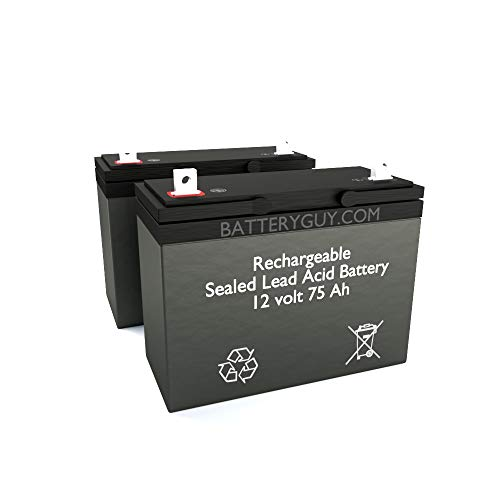 BatteryGuy Battery BG-12750NB - 12V 75AH SLA Replacement for Electric Mobility Rascal 710 Powerchair Battery Pack (2 Pack, Rechargeable)