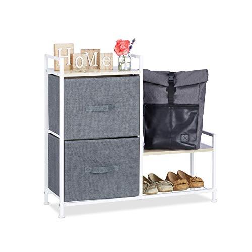 Relaxdays Regalsystem, 2 Stoff-Schubladen, HxBxT: 76 x 84 x 29 cm, universale Schubladenbox, Metall und Holz, grau