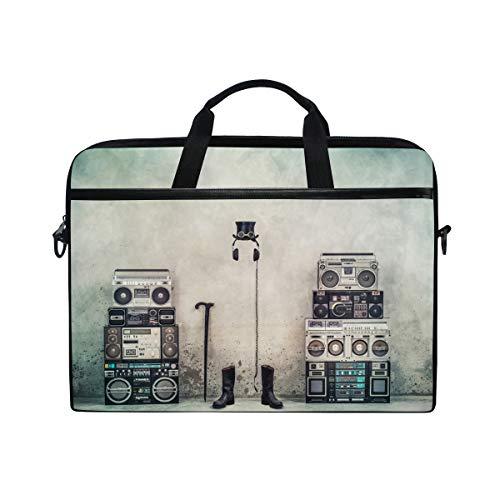 Laptoptasche/Umhängetasche, Retro-Stil, Motiv: Ghettoblaster/Boombox/Radio, für Laptops mit 35,6 cm bis 38,1 cm (14 bis 15 Zoll)