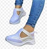 ZYLL 2021 Zapatos en Aumento Tacones Altos Dama Casual Zapatillas de Deporte para Mujer Zapatos de Plataforma de Ocio Un Solo Pedal Deportivo Mocasines Planos,Blanco,35