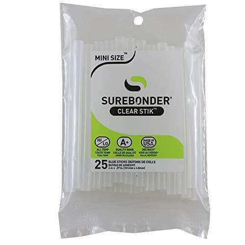 Surebonder DT-25 Made in the USA All Purpose Stik Mini Glue Sticks-All Temperature-Clear-5/16' D, 4' L Glue Stick-25 sticks per Bag