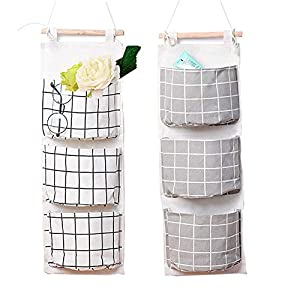 2 Packs Linen Cotton Fabric Wall Door Closet Hanging Storage Bag 3 Pockets Over the Door Organizer for Room Bathroom with 1pc Elephant Coaster by HomRing