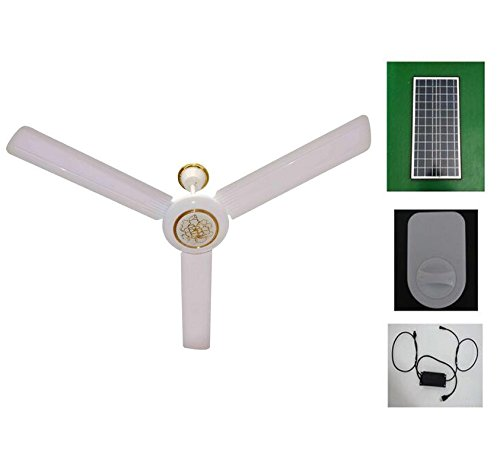 Solar Ceiling Fan 24h Runs +AC/DC Converter + Solar Panel 48' 56' (56')