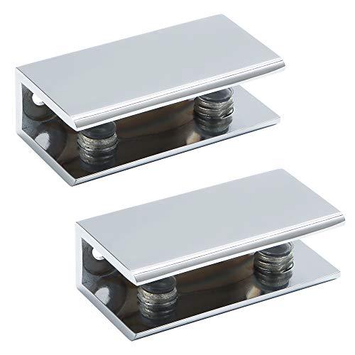 Sayayo Soporte de vidrio sólido Abrazadera de vidrio Soporte de estante de vidrio Montado en la pared, Adaptable 8-12MM Espesor de vidrio, Acero inoxidable pulido, 2 pzs.,EBL2012-2P