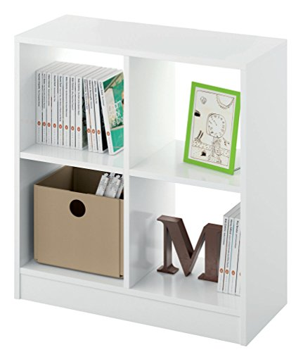 Estantería librería Biblioteca pequeña y Abierta Color Blanco Brillo, 4 estantes para Oficina, despacho o Estudio. 70cm Altura x 66cm Ancho x 32cm Fondo