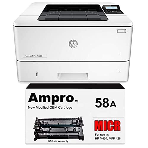Ampro Check Printer Includes 1 Genuine HP LaserJet M404n, 1 Ampro MICR CF258A Toner Cartridge Prints 1500 Checks. (2 Items)