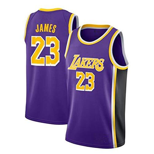 WJP Jersey De Baloncesto Masculino - # 23 Lebron James Lakers Uniforme De Baloncesto, Números De Letras Bordadas, Poliéster Baloncesto Swingman Jersey Blue-S