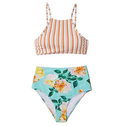 Damen Gestreift Blumen Badeanzug Bikini Push-Up Frauen Einteilige Bademode,Monokini Badeanzüge BH Bikinihose Bademode für Dicken Bauch Strandkleidung URIBAKY