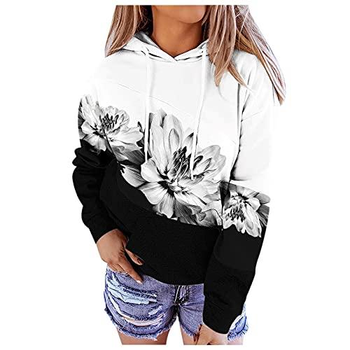 Briskorry Sudadera con capucha de gran tamaño para mujer, color de contraste, con bolsillo delantero de canguro, con botones, estilo informal, de manga larga, gris, M