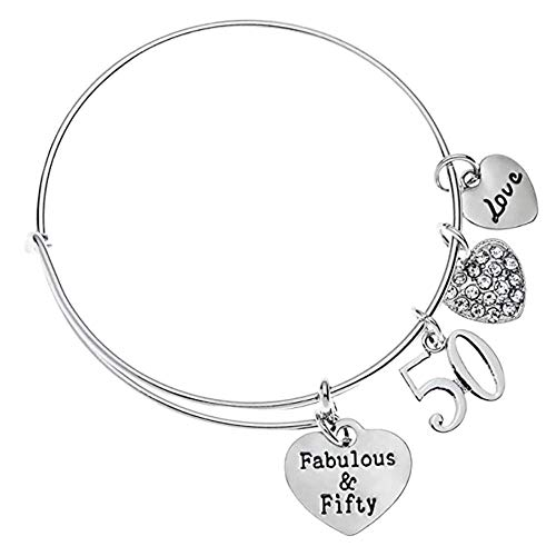 50th Birthday Charm Bracelet, Fabulous and Fifty Birthday Gifts for Women, 50th Birthday Gift Ideas