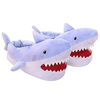 Novelty Animal Slippers Little Blue Shark Plush Slippers Warm Winter Slippers House Shoes for Women  6-10