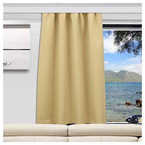 SeGaTeX home fashion Wohnmobil Caravan-Vorhang Mattis beige Verdunklungsdeko Wohnwagengardine mit Reihband (Höhe & Breite nach Maß)