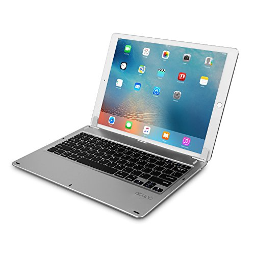doupi Drahtlose Tastatur für iPad Pro 12,9 Zoll (2015/2017), Bluetooth Keyboard Multi-Funktion Taste mit Verstellbarer Beleuchtung aufstellbar klappbar wie EIN MacBook, Deutsch Layout, Silber