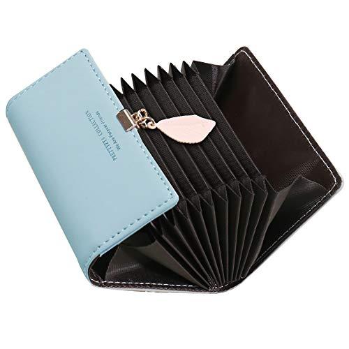 Tarjeteros para Tarjetas de Credito Mujer SAMKING Titular de la Tarjeta de Crédito Carteras de Cuero RFID Monederos con Cremallera (Azul 2)