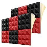 Popcornon Paneles de Espuma AcúStica, Paneles de Espuma a Prueba de Sonido de 2 X 12 X 12 Pulgadas con Acolchado de Aislamiento AcúStico Piramidal de Alta Densidad
