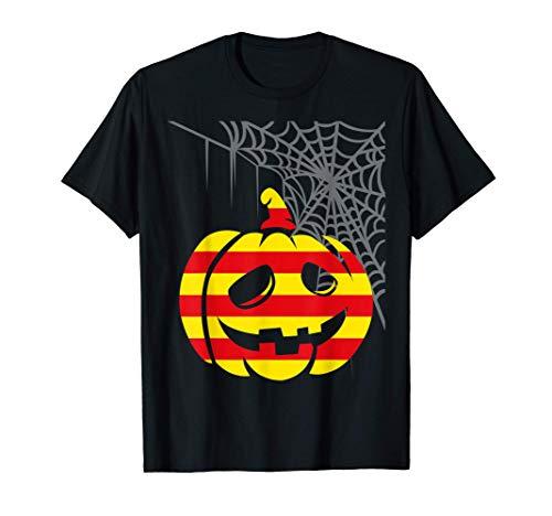 Disfraz Halloween Calabaza con Bandera de Barcelona Camiseta