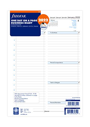 Filofax A4 Dag per Pagina 5 Afspraken Taal Dagboek - 2022, 2268719
