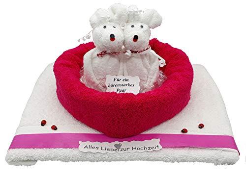 Frotteebox Geschenk Set Bären Hochzeitspaar mit Herz aus 2X Handtuch rot/weiß (100x50cm) und 2X Waschhandschuh weiß geformt