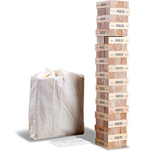 Jaques of London Giant Tumble Tower - Más de 3 pies de Altura Durante la reproducción, incluida una Bolsa con cordón de Tela, Grandes Juegos de jardín para Adultos y Juguetes de jardín para niños