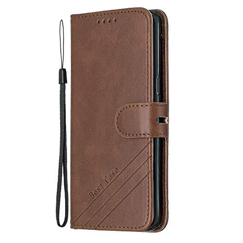 Docrax Galaxy S8+ (S8 Plus) Handyhülle, Hülle Leder Case mit Standfunktion Magnetverschluss Flipcase Klapphülle kompatibel mit Samsung Galaxy S8+ /G955F - DOHEX120231 Braun