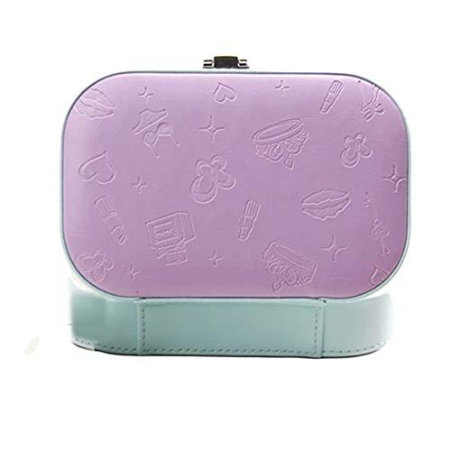 GSJJ Calidad joyería Caja PU Espejo diseño, multifunción Separar Joyas Almacenamiento Organizador para Pendientes Collar Pulsera Anillo Regalo Viaje casa decoración,Purple