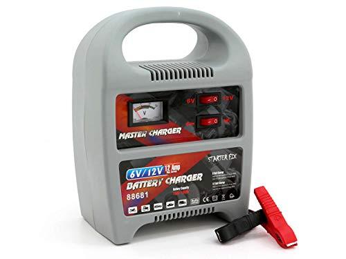 Cargador de batería de Starter Fix, estación de carga para sus baterías de coche vacías con un voltaje de 6-12 V, 12 A.