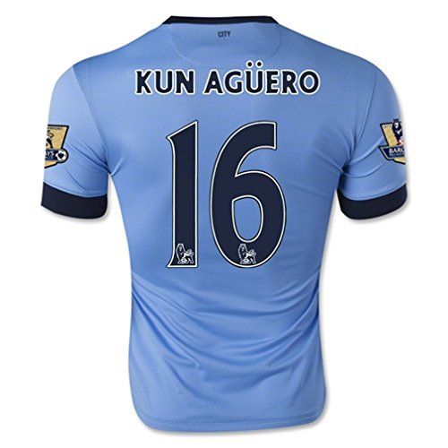 Nike Manchester City Home 2014/15 Jersey (Official with Kun Aguero 16 and EPL Patches - Size M