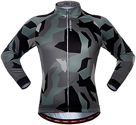 Mooremastle Montar la Primavera otoño Manga Larga Ciclismo de montaña Bicicleta Colthing para los Deportes al Aire Libre Ejercicios de poliéster Verde del ejército
