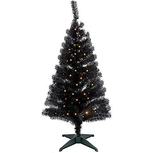 Juegoal Pre-Lit Artificial Halloween Christmas Tree, 4 FT Lighted Black Tinsel Xmas Pine Trees with 50 LEDs Lights, 8...