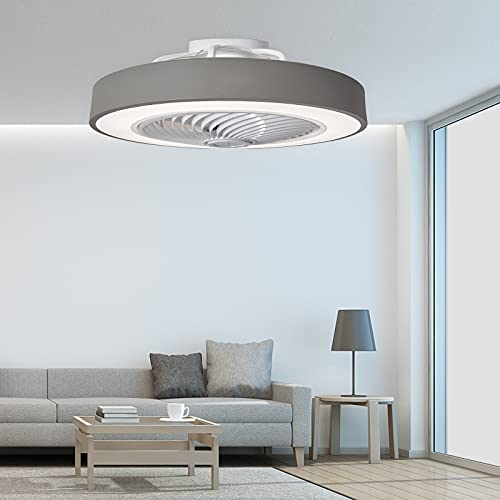 PASUTO Round Gray Ceiling Fan Light, Invisible Blade Dimmable Chandelier, with Remote Control,...