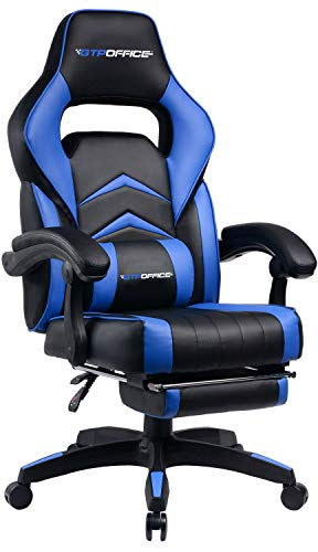 Gaming Chair with Footrest Office Desk Chair Blue Ergonomic Computer Chairs for Adults Conference Manager Work Chair PU Leather High Back Adjustable Task Chair with Lumbar and Padded Footrest
