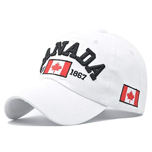 Baseballmütze Cap Kanada 100% Baumwolle Papa Hut Ahornblatt Stickerei Baseball Cap Snapback Cap Männer Und Frauen Mode Lässig Sonnenschirm Outdoor Hüte Weiss