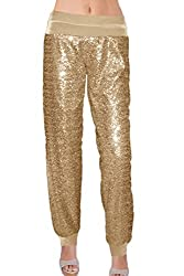 Gold Color Sequin With Velvet With Cuffs Pants