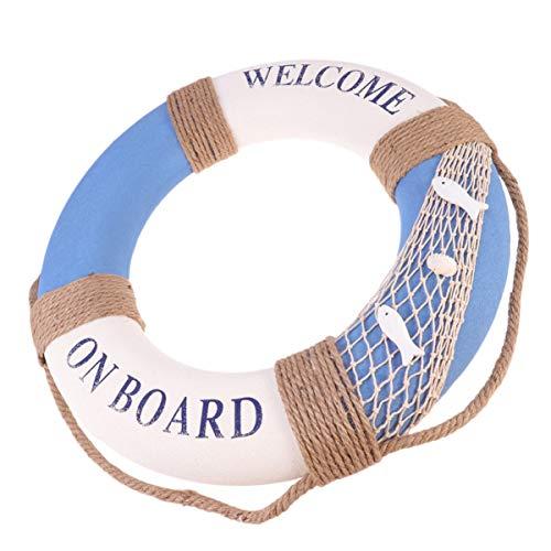 PRETYZOOM 50cm Deko Rettungsring Schaumstoff Vintage Retro Schwimmkreis Welcome on Board Reifen Dekoration Maritime Deko zum Aufhängen für Bar Fenster Hintergrund Wanddeko
