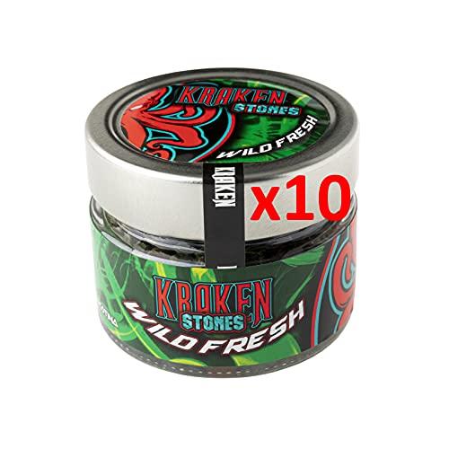 10 Tarros de Piedras Granuladas para Cachimba-Sustituto del Tabaco Sin Nicotina, Con Sabor de Wild Fresh (Kiwi, Lima y Menta), Ref:285