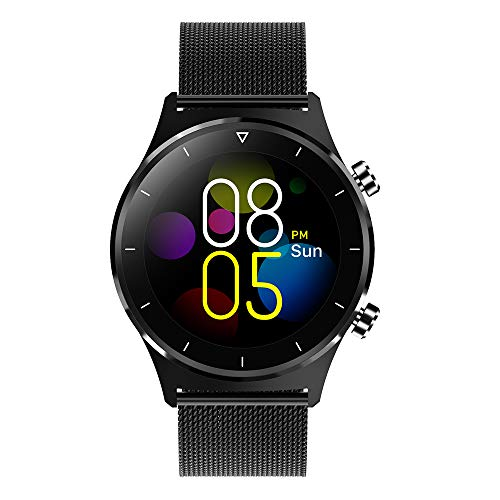 Reloj inteligente de fitness para hombre, con podómetro, pantalla táctil redonda, Bluetooth, para iOS y Android (color de acero negro)