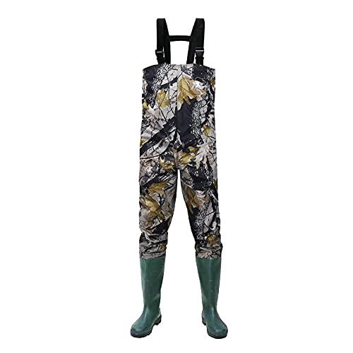keleiesXD Waders Pantalones de Pesca de Camuflaje con Botas Pantalones de Pesca Pantalones de Estanque, Impermeables al Agua, fáciles de Usar Practical