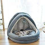 Liteness Cama de casa para mascotas, cama cueva de gato, almohadilla de nido de gato, suave y cómodo, suministros para mascotas, cuatro estaciones universales