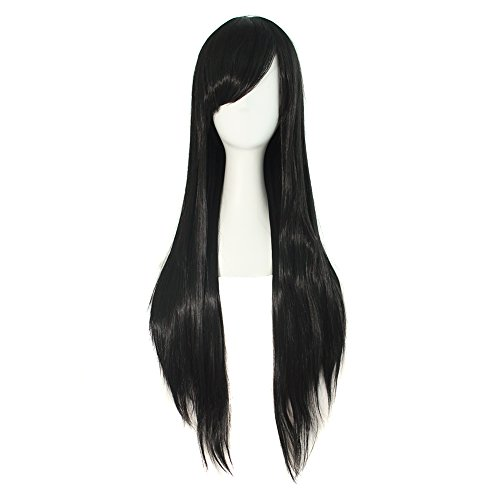 Mapofbeauty, parrucca nera lunga liscia in Kanekalon