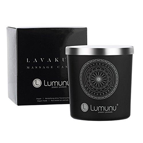 Deluxe Aroma Massagekerze Lavakuss aus natürlichen Soja & Kokosölen für Paarmassagen (150g), von Venize