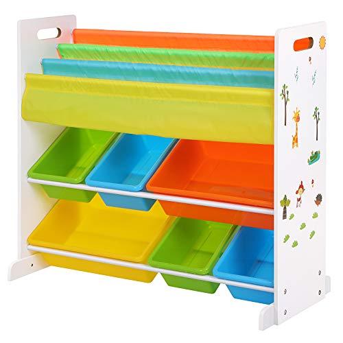 SONGMICS Kinderregal, Kinderzimmerregal, Bücherregal, Aufbewahrungsregal mit Kippschutz, 6 Kästen aus Kunststoff, pflegeleicht, Aufbewahrung für Spielzeug GKR03W