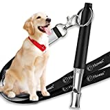 Dog Whistle with Free Lanyard, Adjustable Frequencies Ultrasonic Stainless Steel, Effective Way of Training, Dog Whistles to Stop Barking (H-Black)