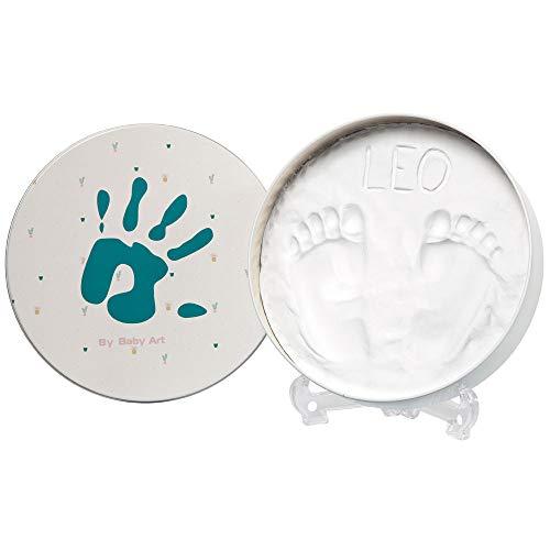 Baby Art Magic Box Ronda Set de decoración de huellas de bebé en arcilla blanca, Regalos para bebés y recién nacidos, Recuerdo memorable de huellas de mano y pie, essentials