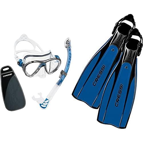 Cressi Big Eyes Evolution & Alpha Ultra Dry Schnorchel - Pack De Snorkel (Tubo Y Gafas), Color Azul + Pro Light Aletas, Unisex, Negro/Azul, L/XL