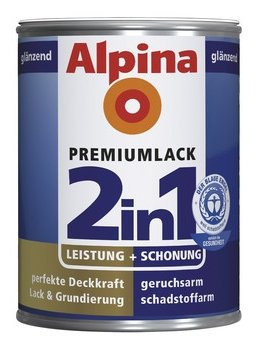 ALPINA 2in1 Buntlack & Grundierung 500 ml Enzianblau RAL 5010, glänzend
