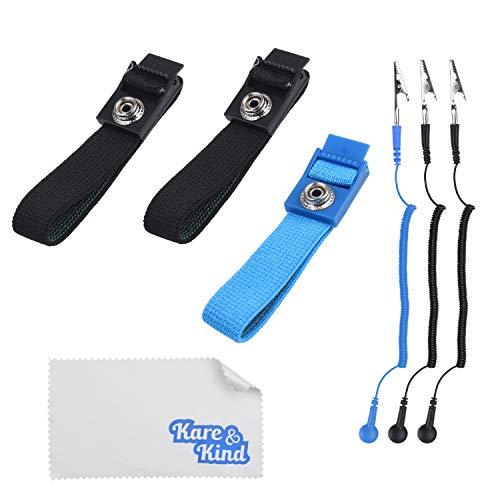Kare & Kind (3er-Pack) Antistatische Handgelenkbänder - wiederverwendbar - Ausgestattet mit Erdungsdraht und Krokodilklemme - Verstellbare Gurte, extra langes Spiralkabel - Für Reparaturen
