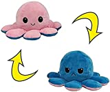 Reversible Octopus Plushie Stuffed Animal Mood Plush Double-Sided Flip - Show Your Mood Without Saying a Word! - Pink to Blue